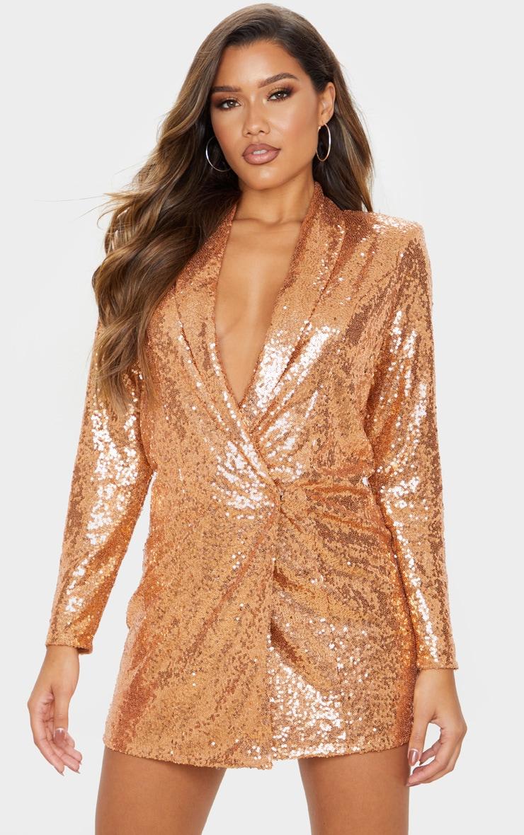 Bronze Sequin Oversized Blazer Dress 4