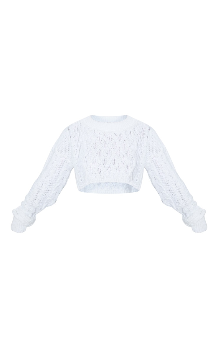 Petite Cream Chunky Knit Super Cropped Sweater 3