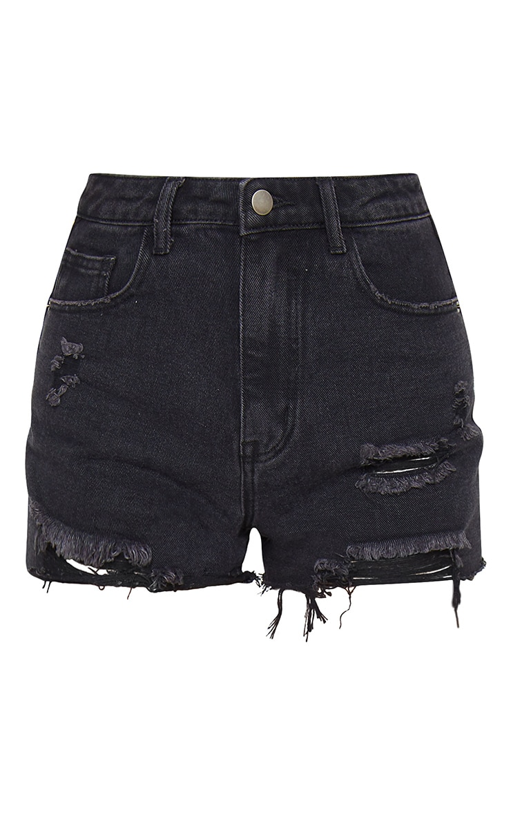 PRETTYLITTLETHING Washed Black Denim Distressed Shorts 6