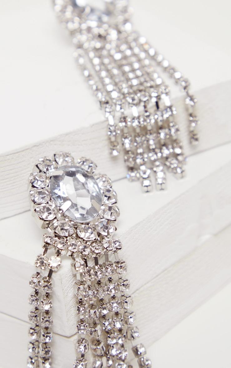 Silver Crystal Oval Tassel Drop Earrings 3