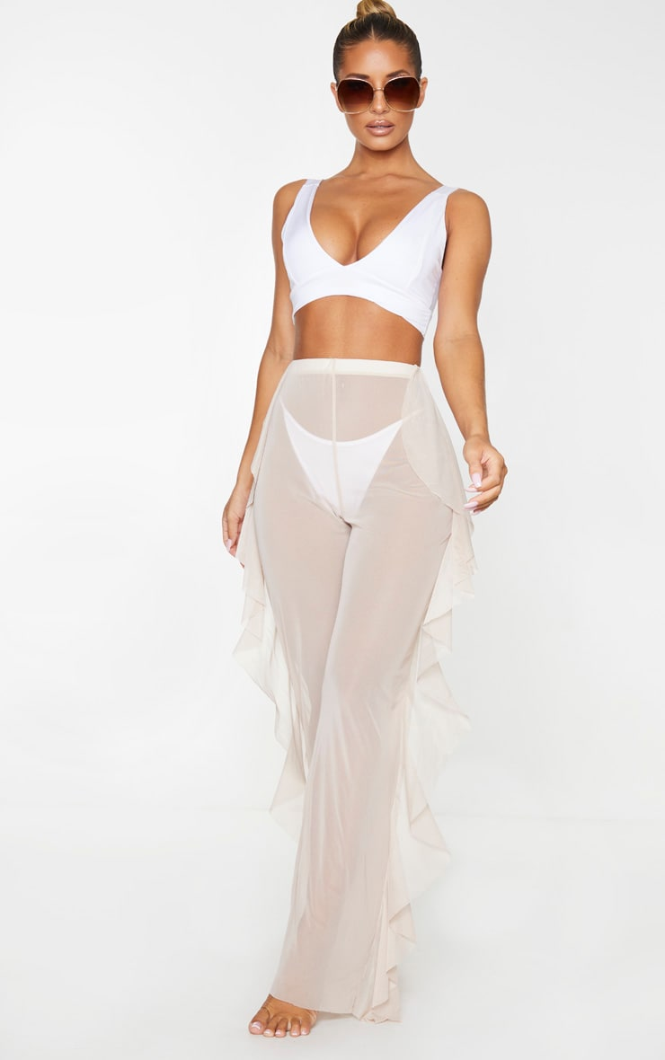 Nude Frill Mesh Beach Trousers 1