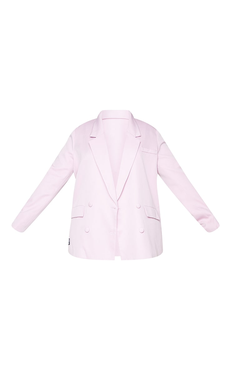 PRETTYLITTLETHING Plus Lilac Double Breasted Blazer 5