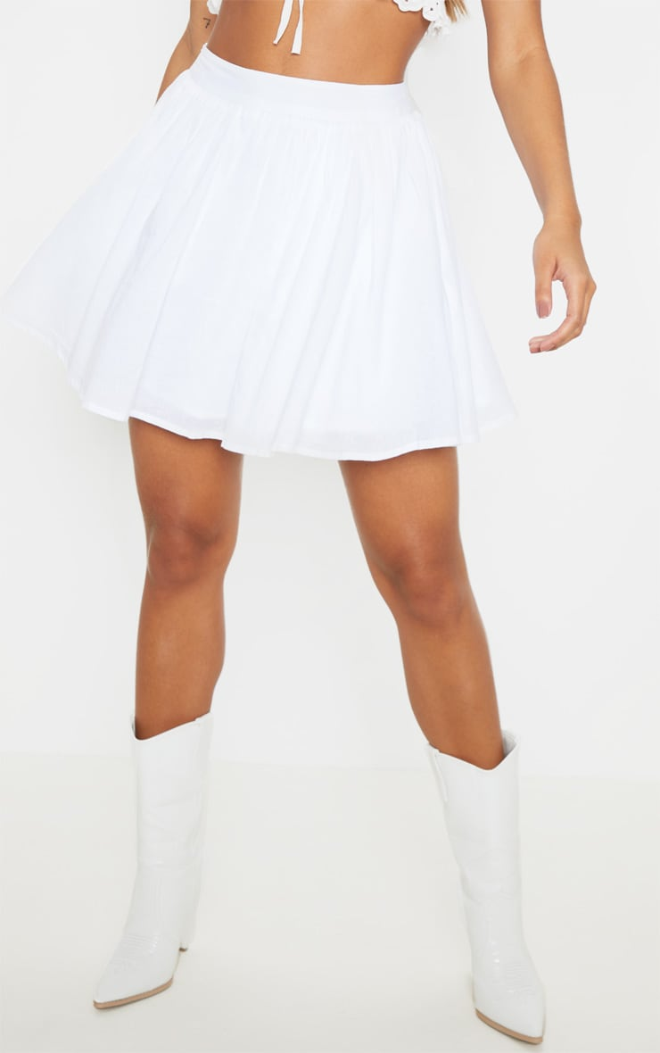 White Woven Full Skater Skirt  2