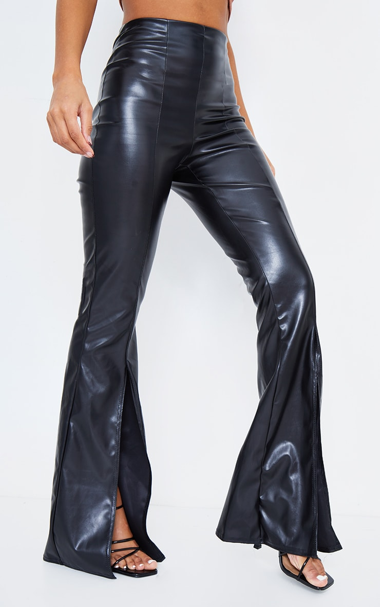Black Faux Leather Split Front Wide Leg Pants 2