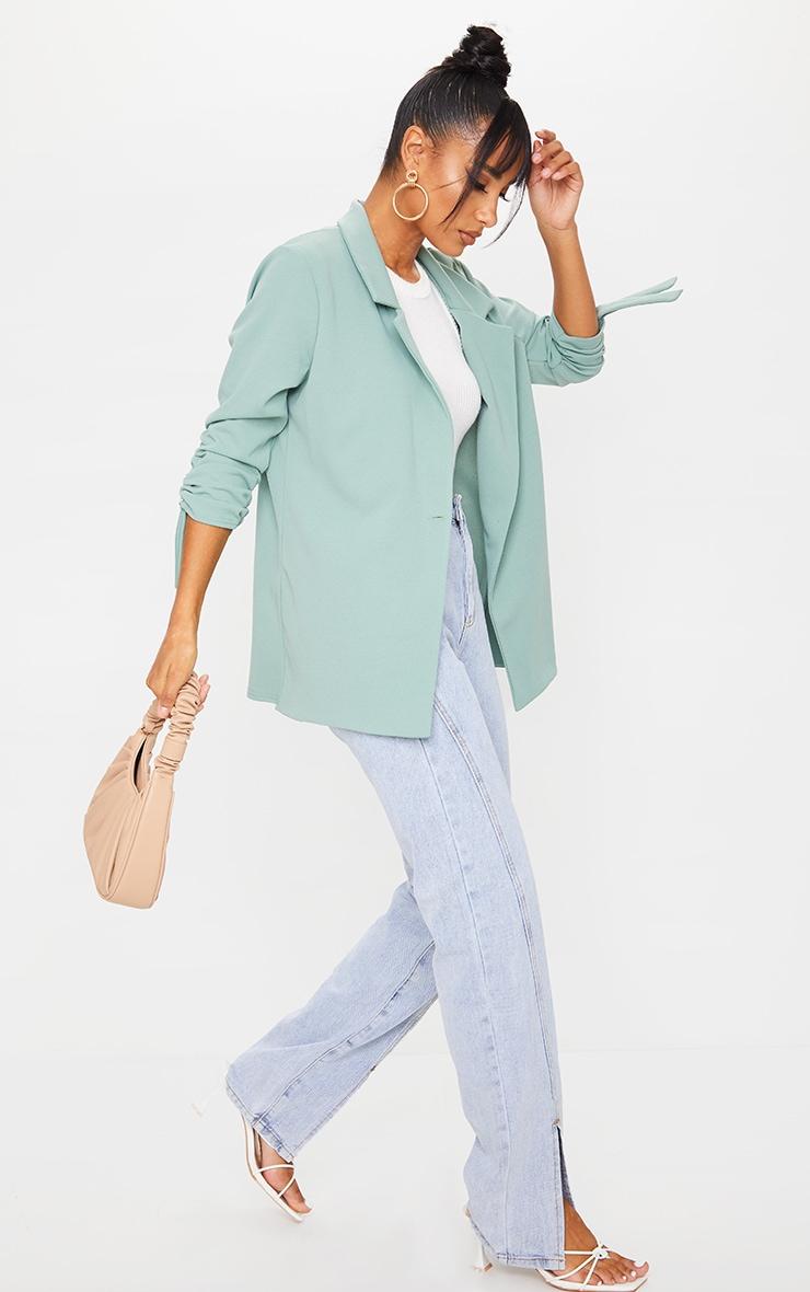 Sage Green Ruched Sleeve Blazer 3