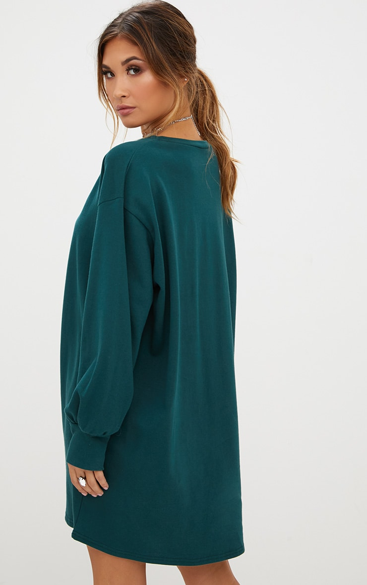 Forest Green Oversized Sweater Dress 2