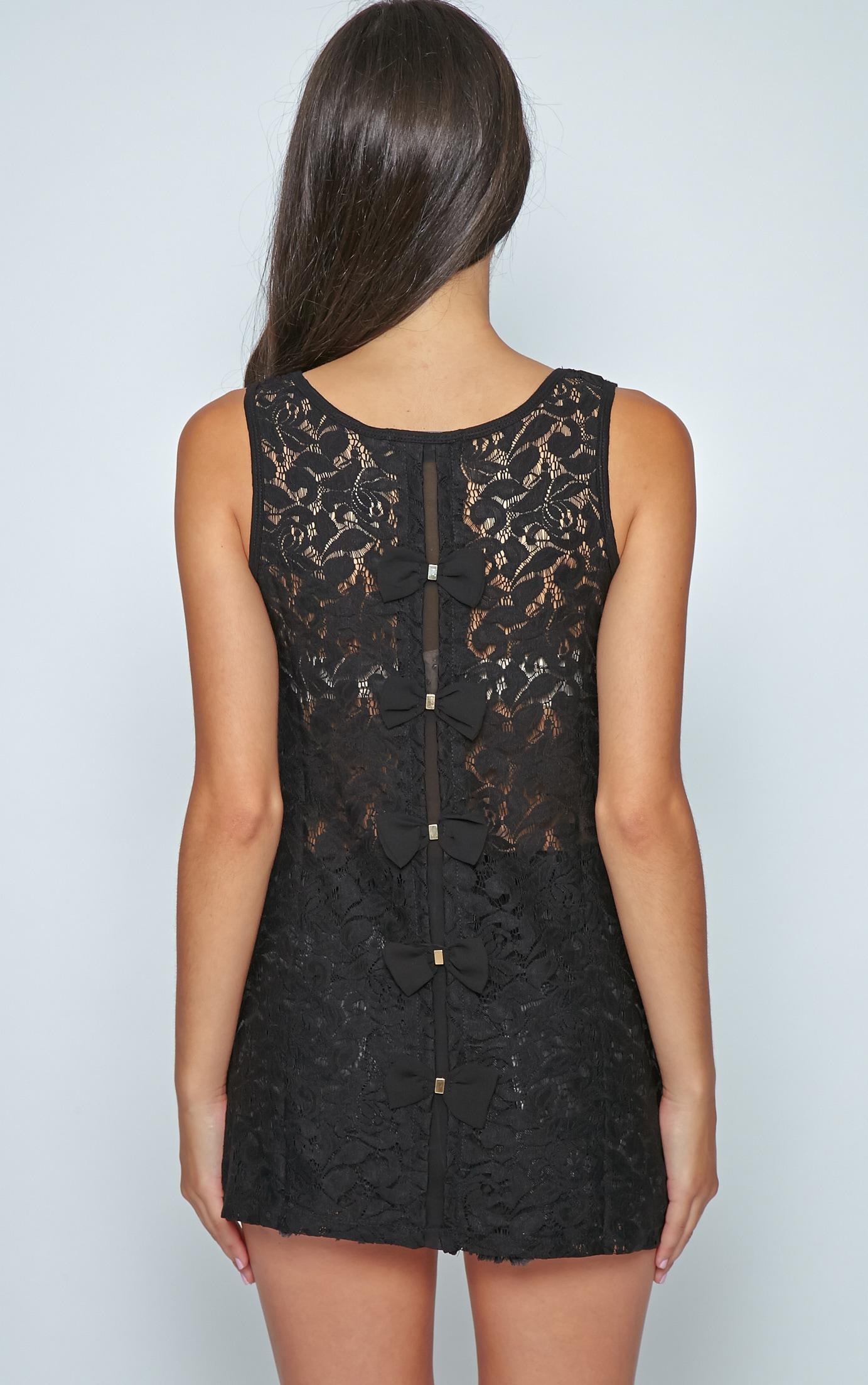 Leia Black Lace Crochet Longline Bow Vest 2