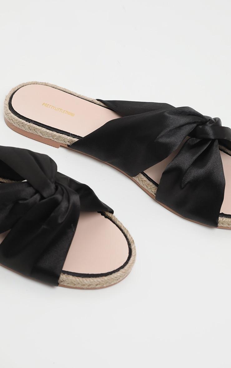 Sandales plates style espadrilles à noeud noires 4