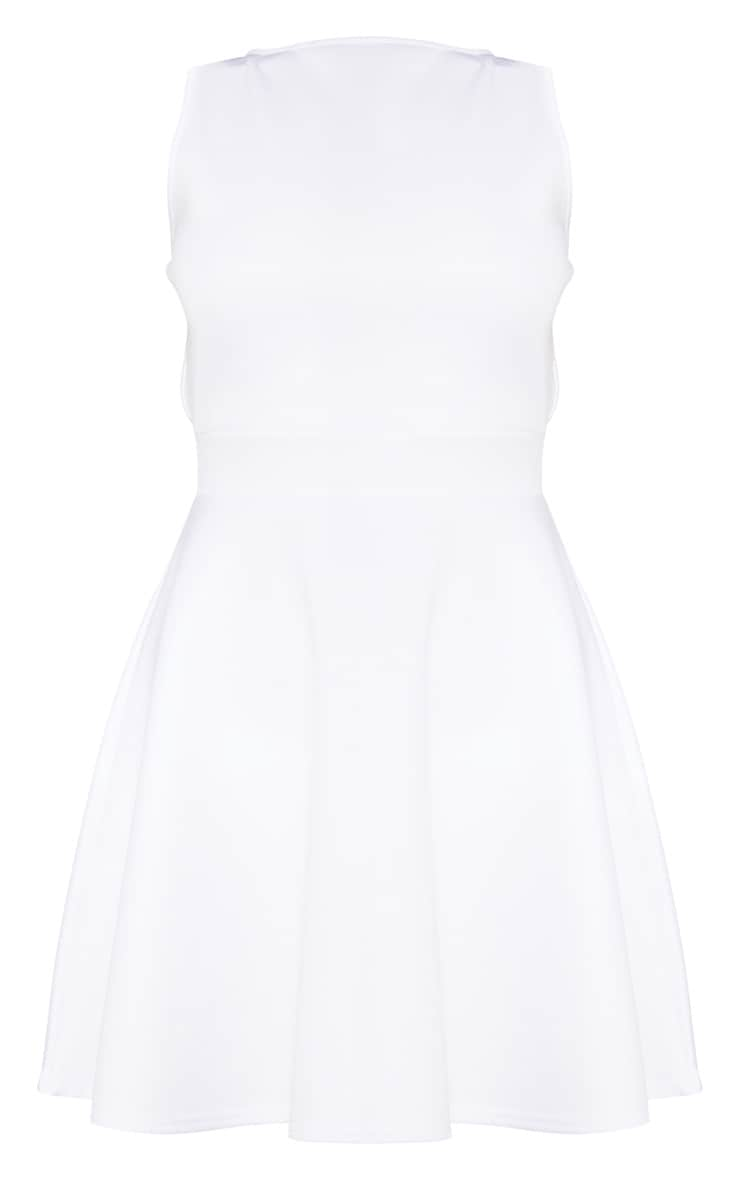 White Strappy Back Skater Dress 3