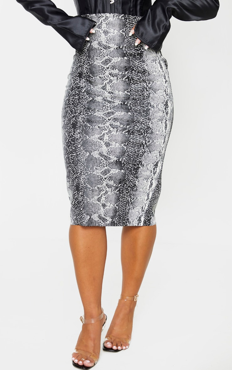 Grey Faux Leather Snake Print Midi Skirt 2