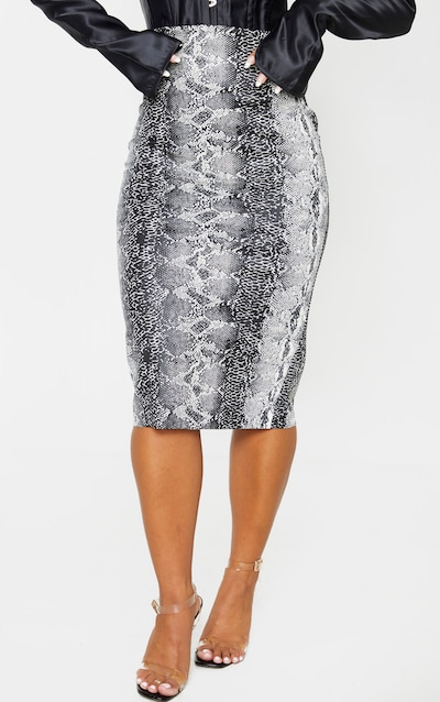 Grey Faux Leather Snake Print Midi Skirt