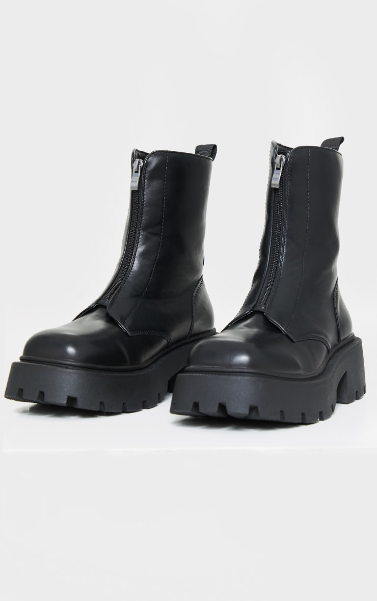 Black Wide Fit Chunky Zip Front Biker Boots 3