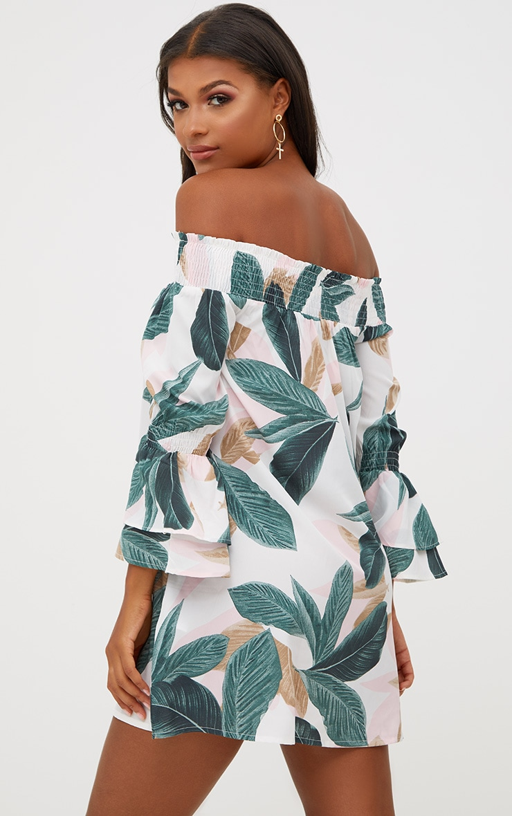 White Palm Print Bardot Shift Dress  2