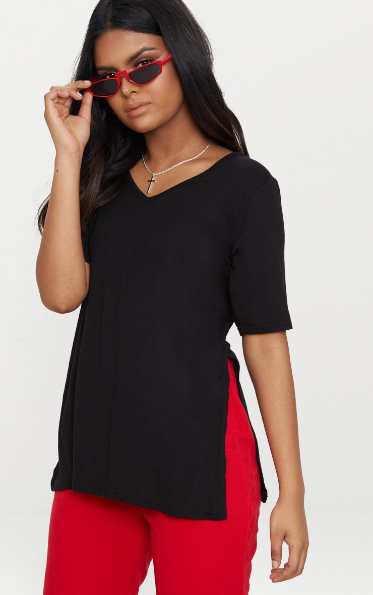 Petite Black V Neck Side Split T-Shirt 1