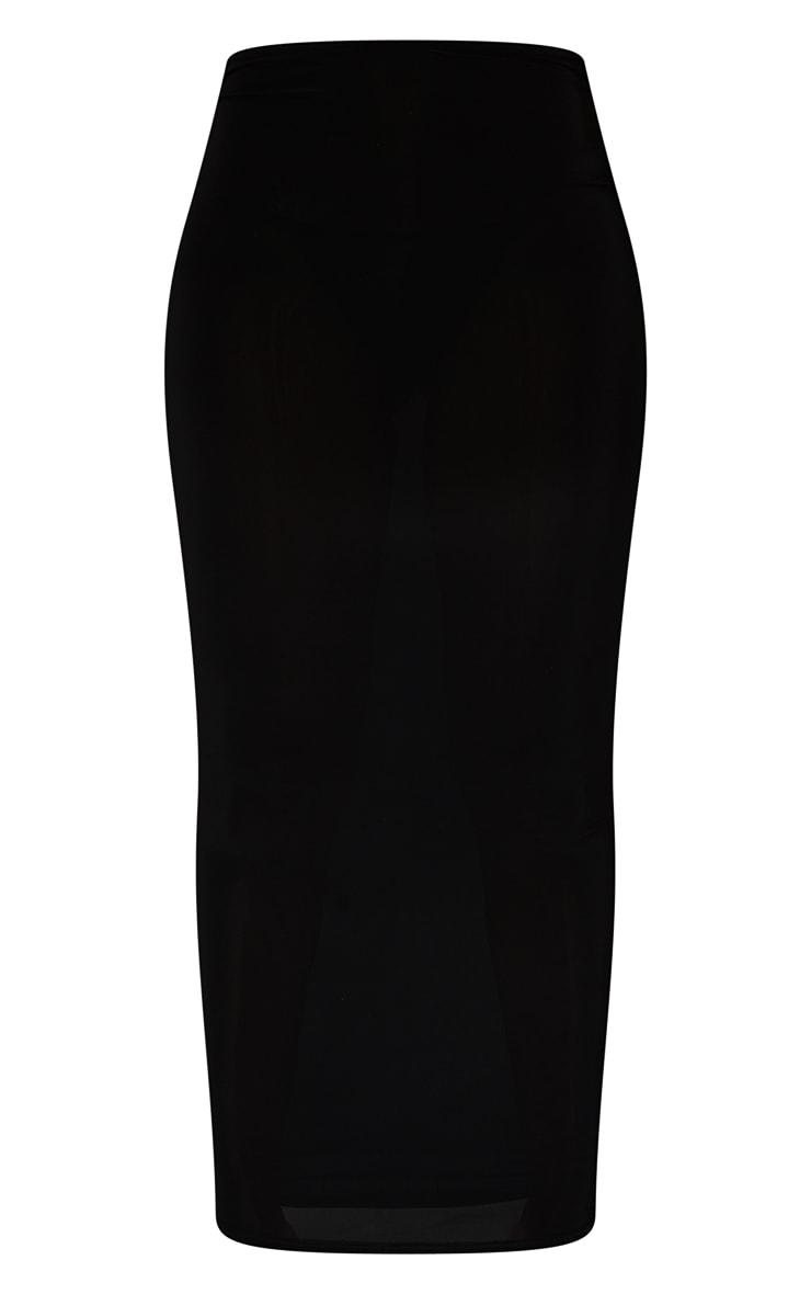 Black Slinky Thong Bum Detail Midaxi Skirt 5