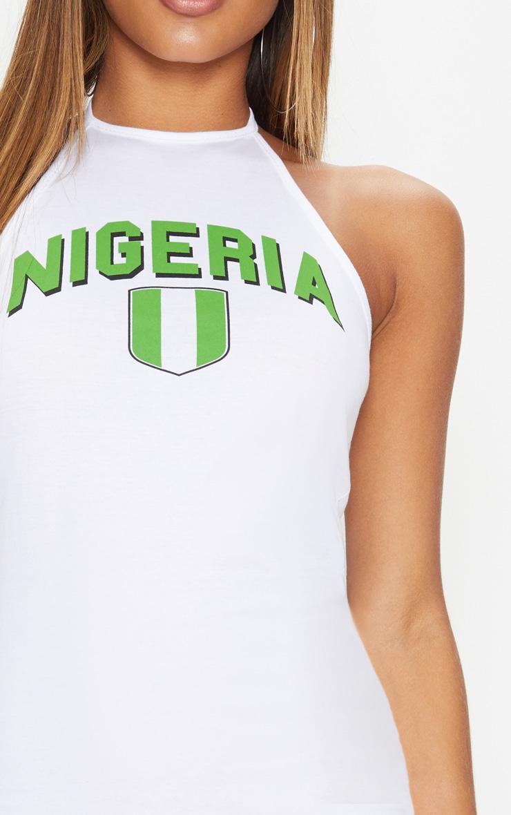 Nigeria Football Halterneck White Bodycon Dress 5