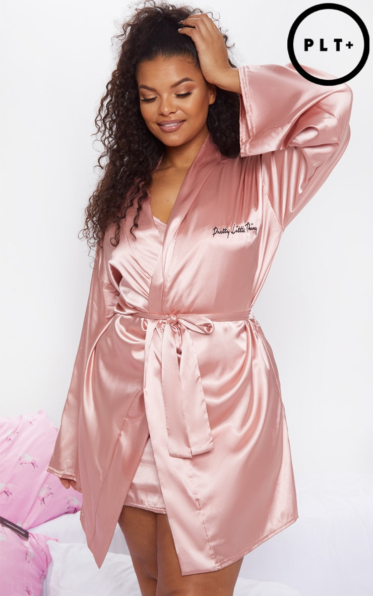 PRETTYLITTLETHING Plus Baby Pink Satin Robe 2