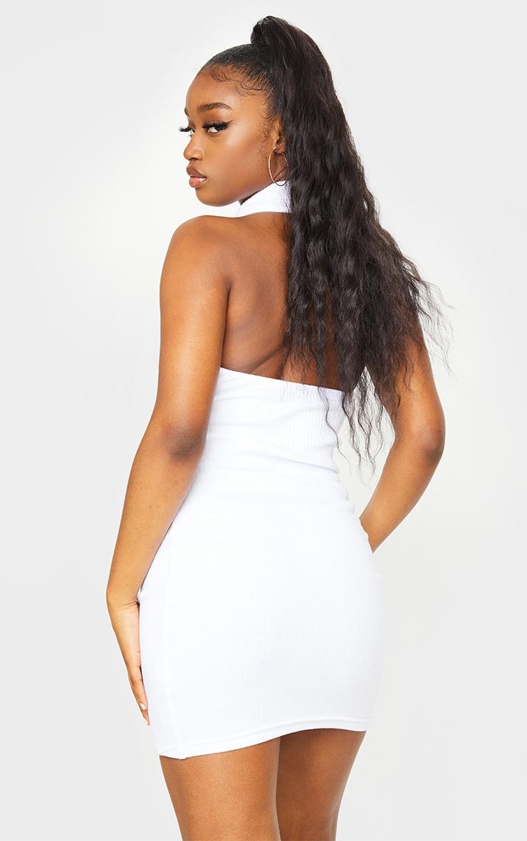 White Rib Open Back Detail Bodycon Dress 2