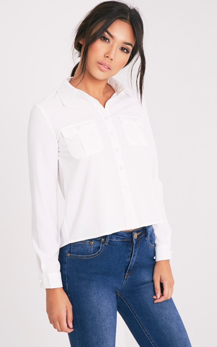 Loulou Cream Crop Long Sleeve Shirt 1