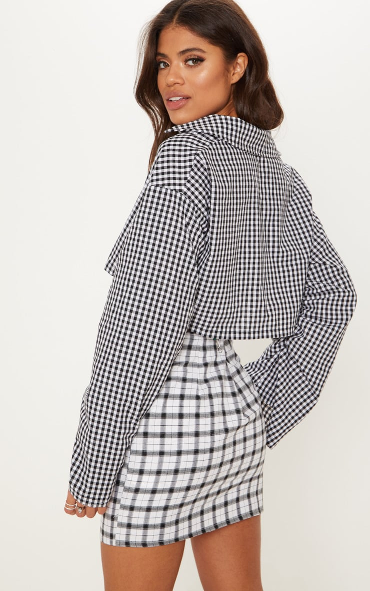 Black Gingham Ruched Sleeve Crop Shirt 2