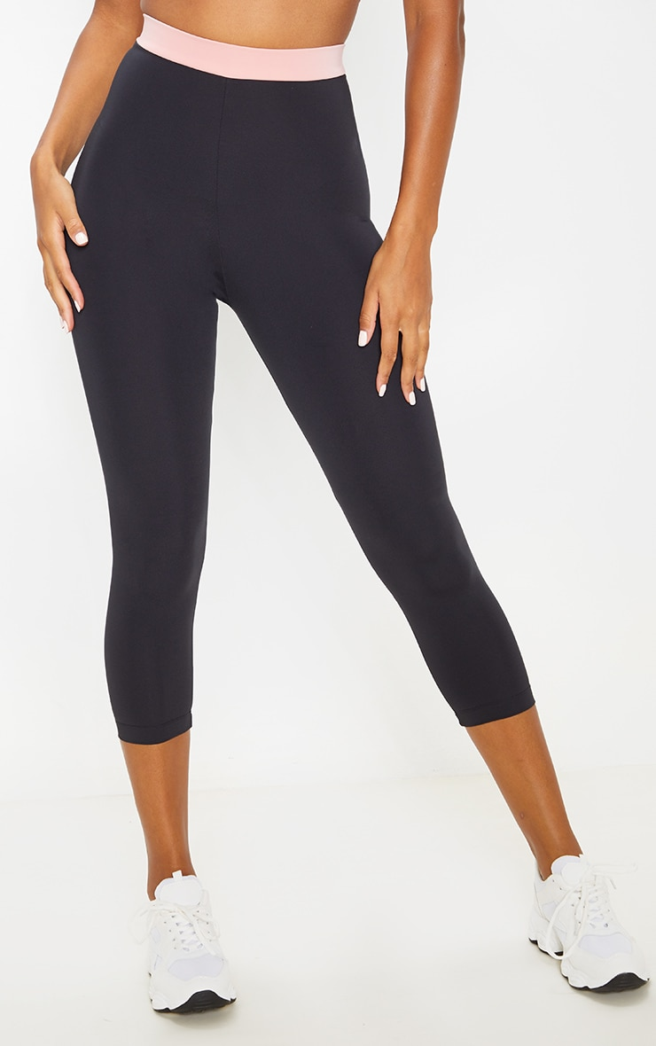 Black Contrast Waistband Cropped Leggings 2