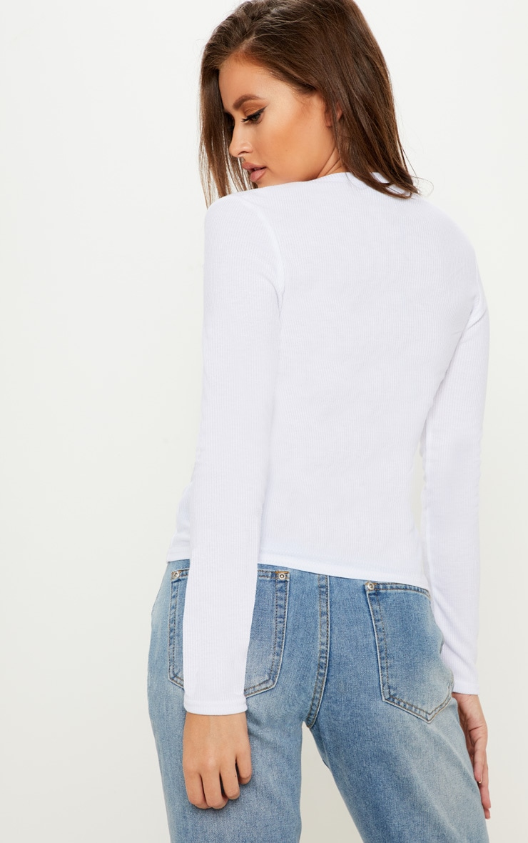 White Long Sleeve Rib Button Top 2