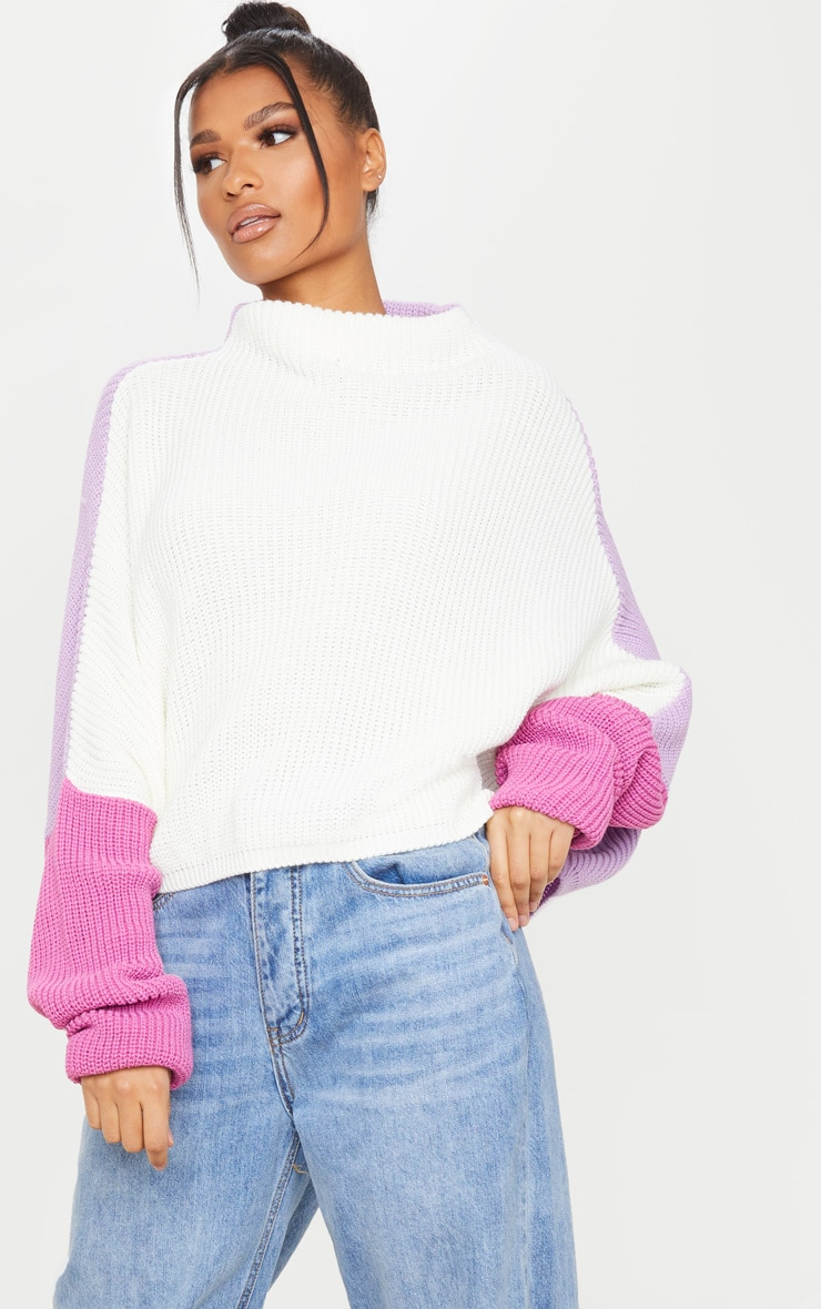 Lilac Oversized Color Block Sweater 3
