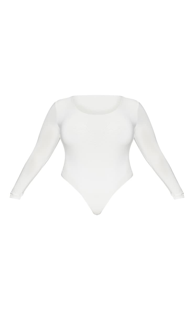 Plus White Second Skin Long Sleeve Thong Bodysuit 3