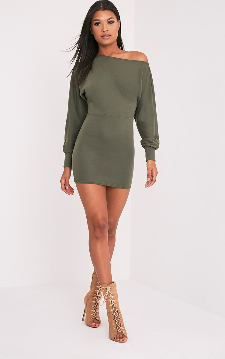 Narlie Khaki Off The Shoulder Sweater Dress 5