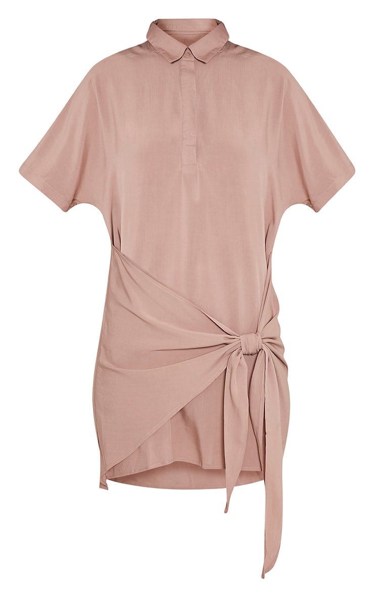 Chessca Nude Tie Front Shirt Dress 3