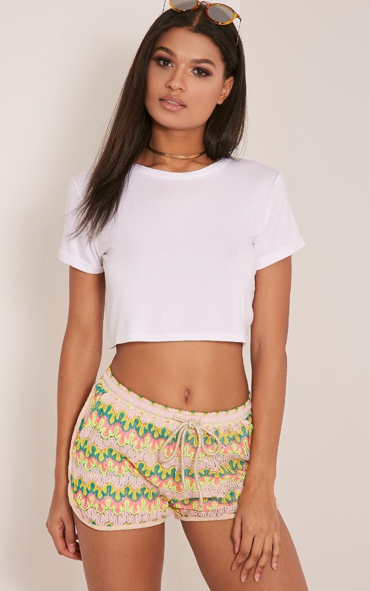 Jillian Neon Yellow Crochet Shorts 1