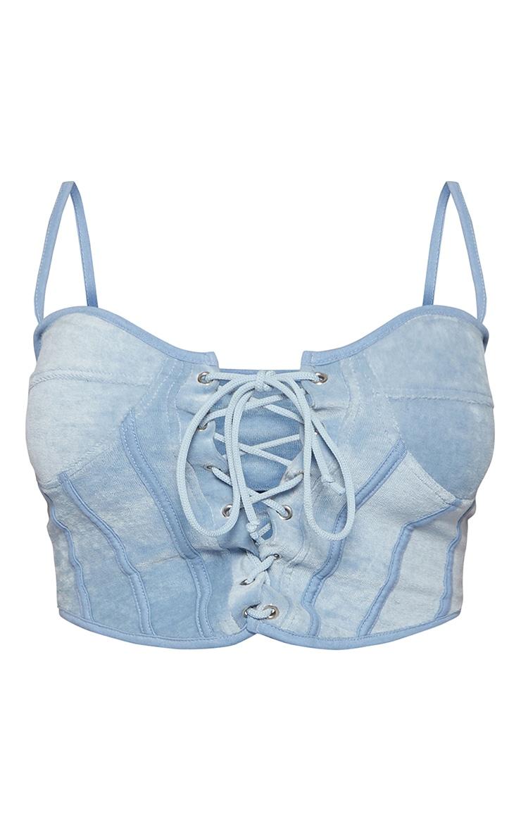 Shape - Crop top bleu style corset à lacets en velours 5