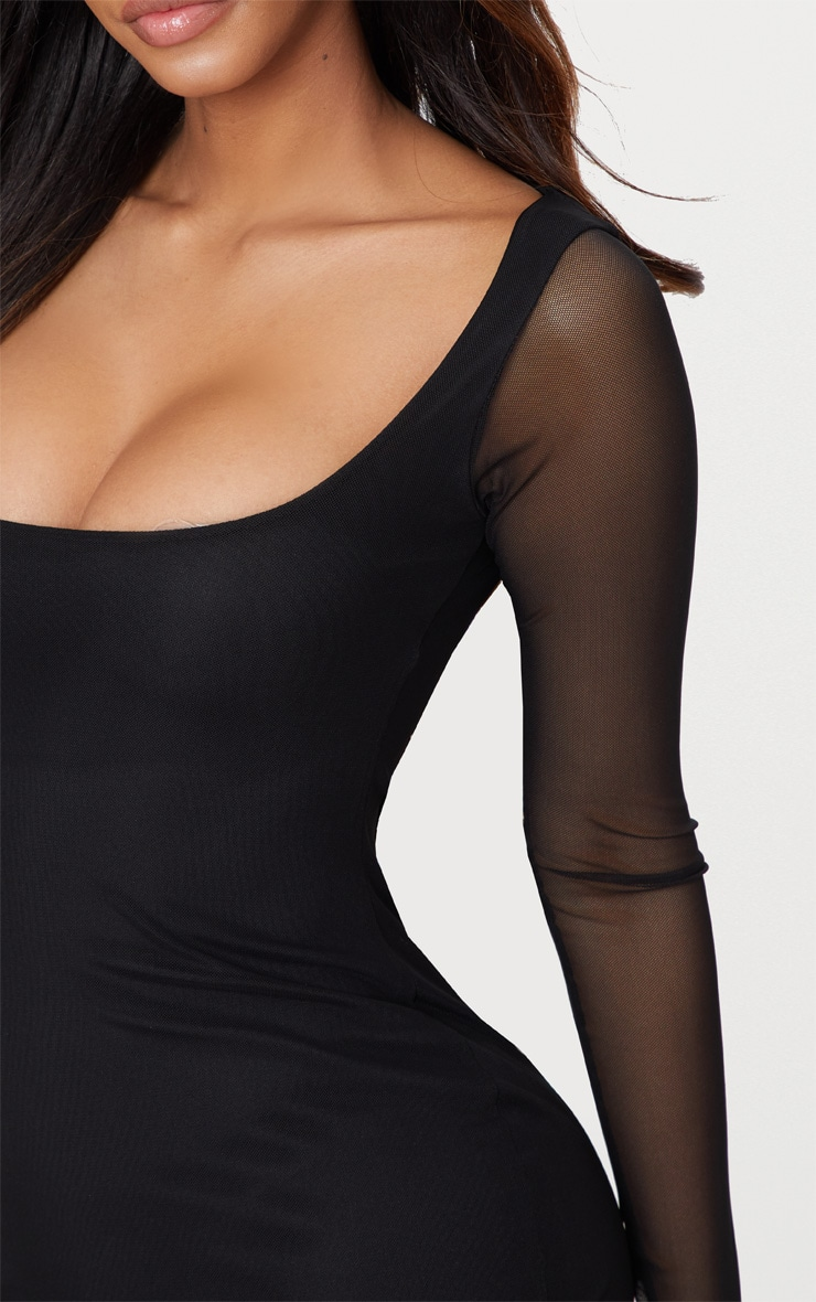 Shape Black Mesh Square Neck Bodycon Dress 4