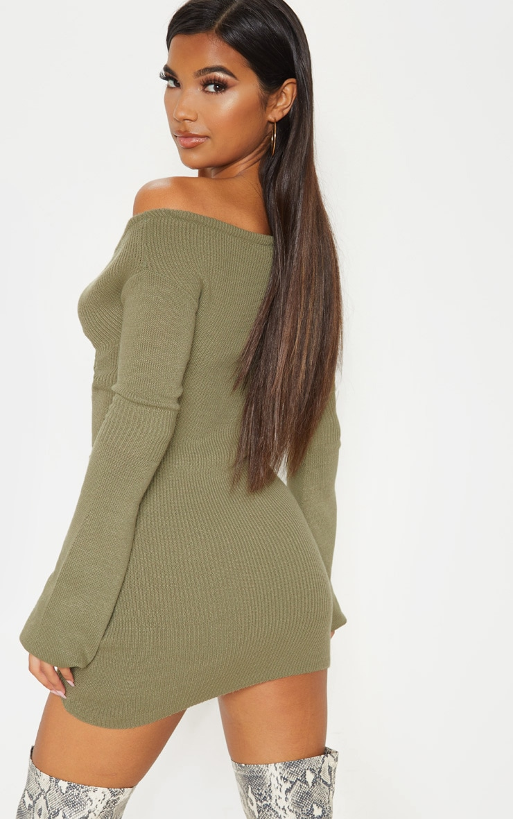Khaki Ruched Knit Dress  2