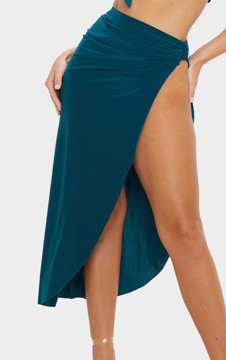 Emerald Green Slinky Knot Detail Curved Hem Midi Skirt 5
