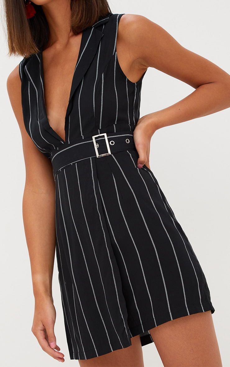 0701d903195fa2 Black Pin Stripe Sleeveless Tie Waist Blazer Dress image 5