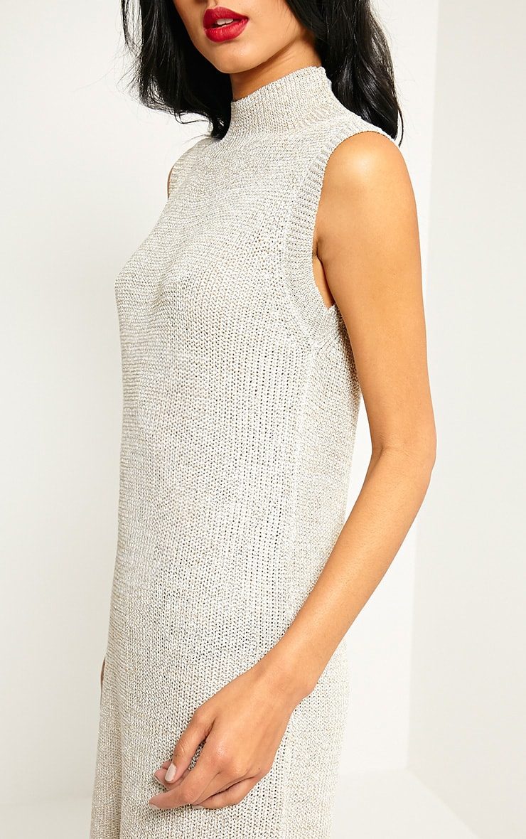 Zedanya Beige Metallic Knitted Dress 5