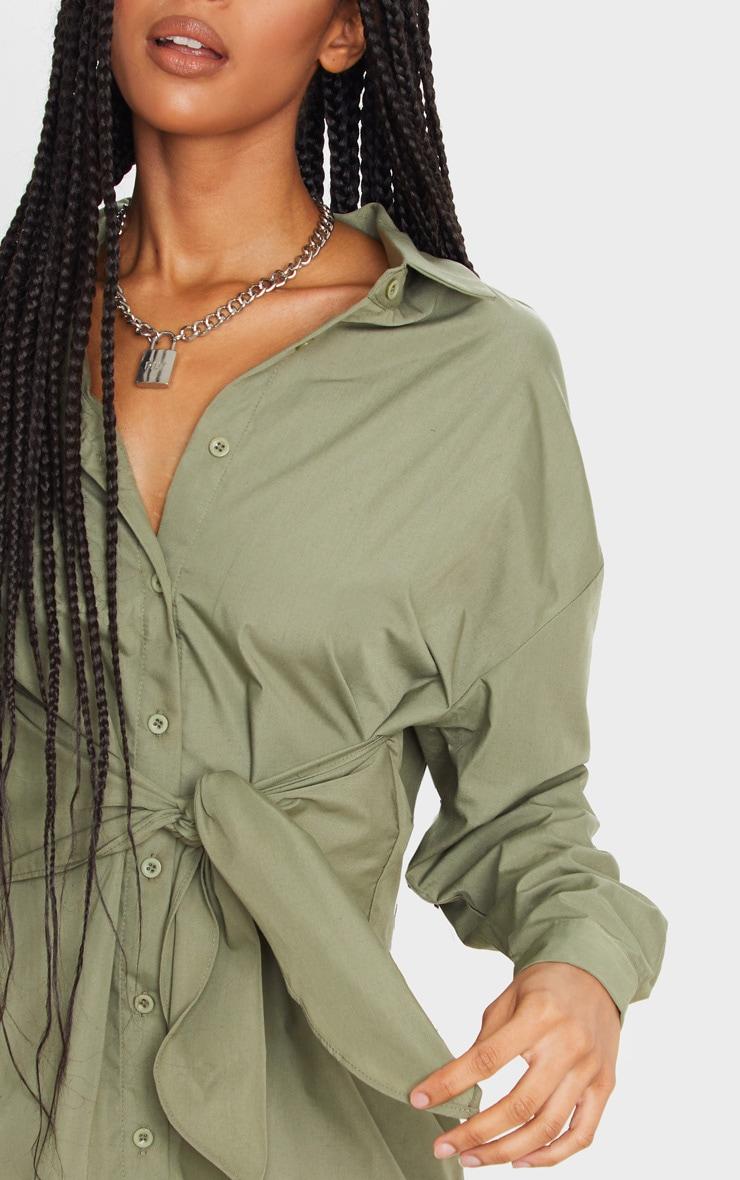Khaki Tie Front Long Sleeve Shirt Dress 5