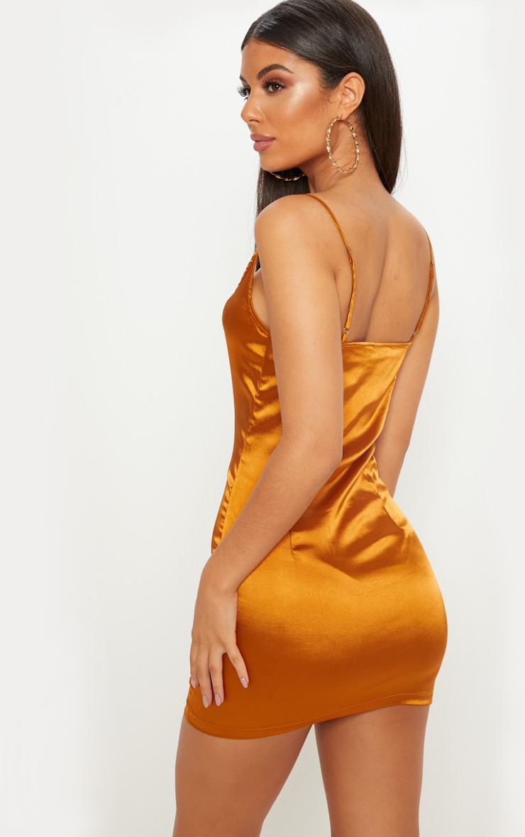 Gold Satin Strappy Square Neck Bodycon Dress  2