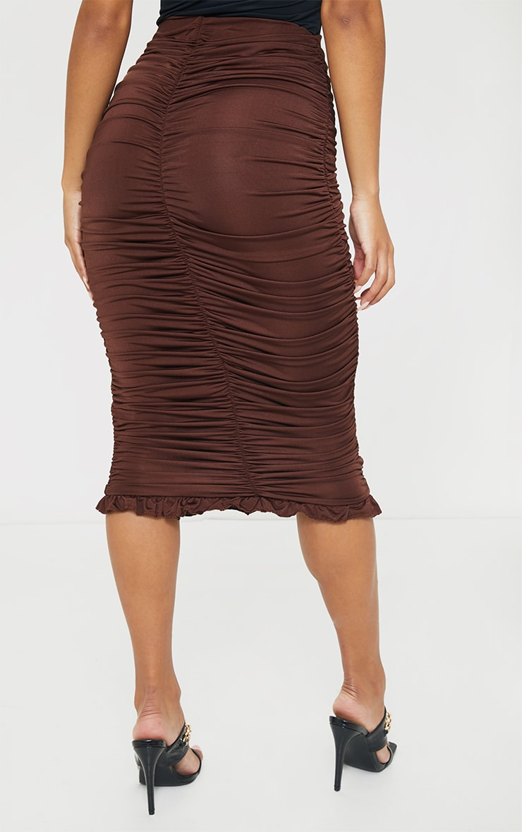 Chocolate Slinky Ruched Frill Hem Midi Skirt 2