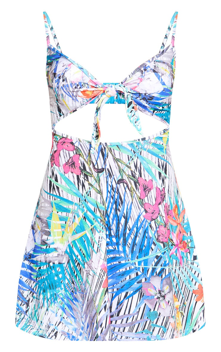 Multi Tropical Print Cut Out Swing Dress  3