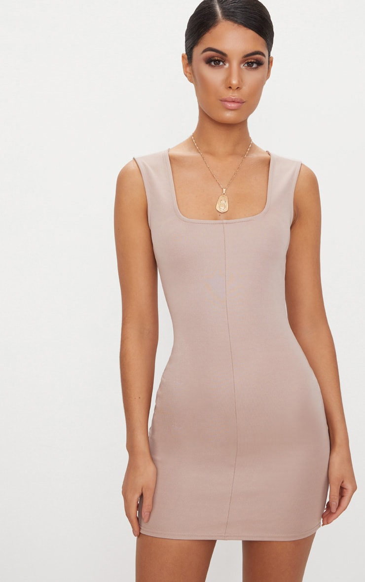 Taupe Square Neck Panelled Bodycon Dress 1