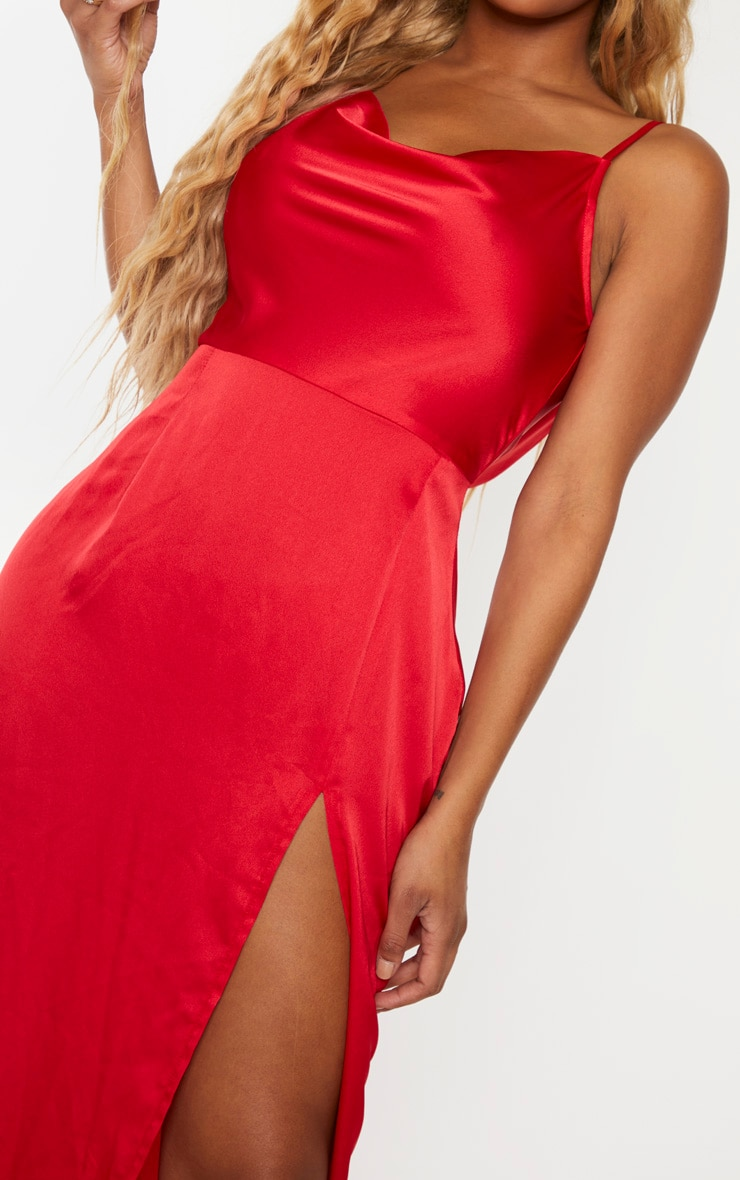Shape Red Satin Cowl Neck Maxi Dress 5