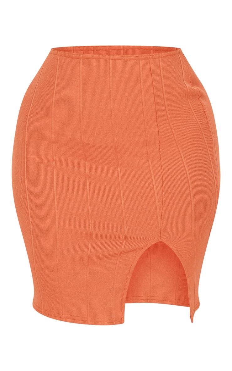 Shape Burnt Orange Bandage Bodycon Skirt 3