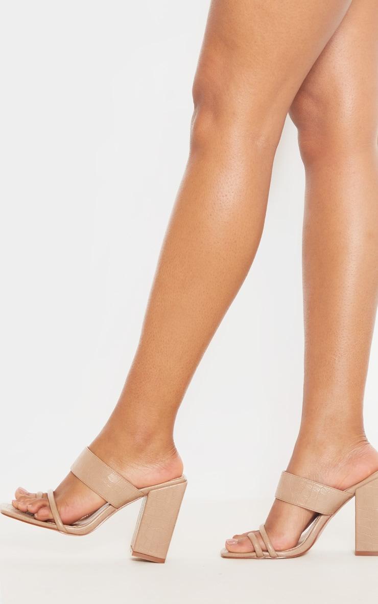 Nude Chunky Block Heel Toe Loop Sandal 2