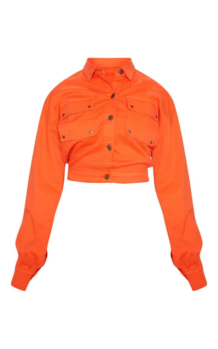 Neon Orange Oversized Cropped Denim Trucker 3