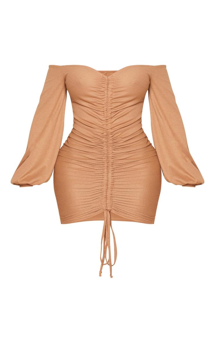 Shape Camel Rib Bardot Ruched Front Bodycon Dress 3