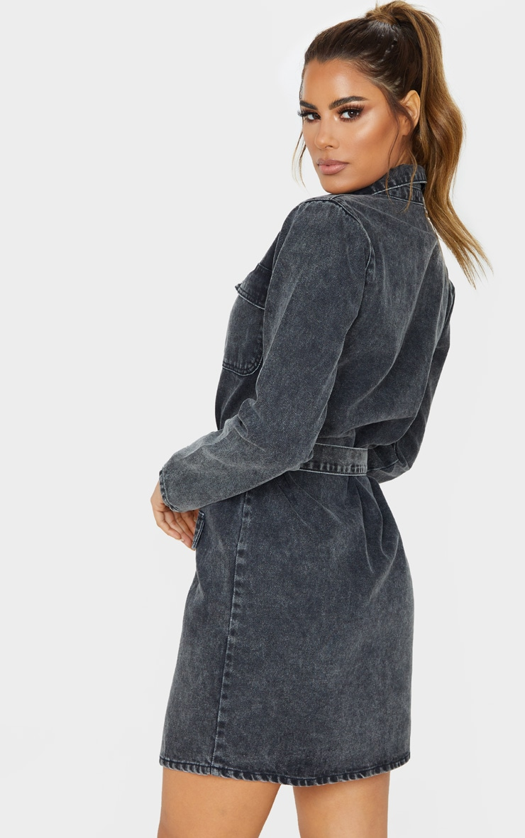 Tall Black Belted Denim Shirt Dress  2