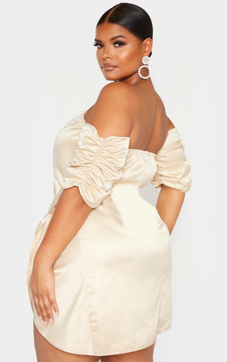 Plus Champagne Satin V Bar Wrap Bodycon Dress 2