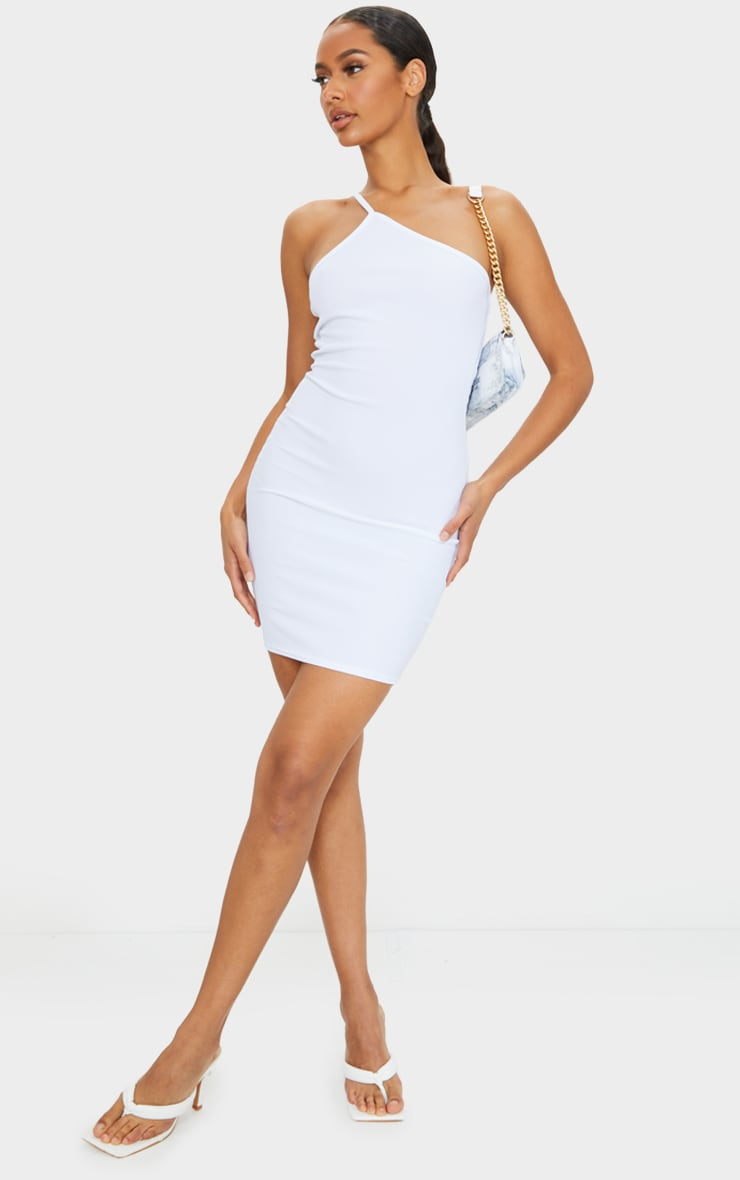 White Ribbed One Shoulder Neck Detail Bodycon Dress 3